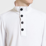 Мужской свитер Stone Island Collar Hidden Zip And Four Buttons White фото- 2