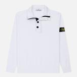 Мужской свитер Stone Island Collar Hidden Zip And Four Buttons White фото- 0