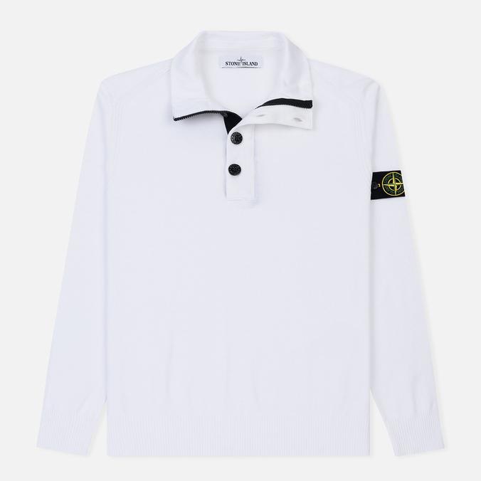 Мужской свитер Stone Island Collar Hidden Zip And Four Buttons White