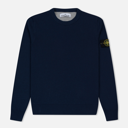 Мужской свитер Stone Island Crew Neck Brushed Cotton Navy Blue