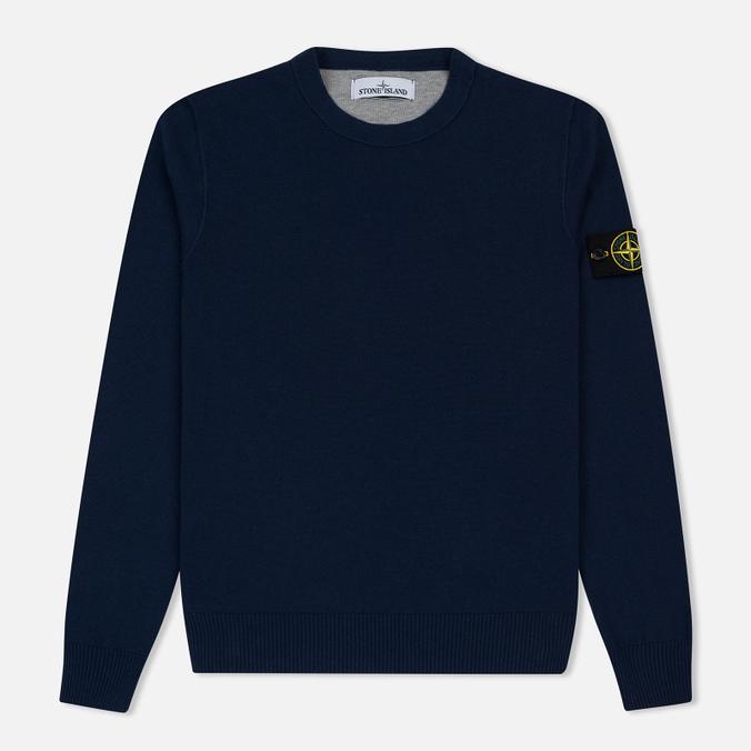 Мужской свитер Stone Island Crew Neck Brushed Cotton Navy Blue