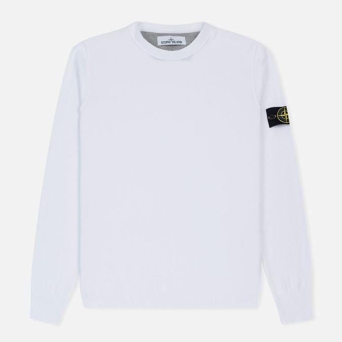Мужской свитер Stone Island Crew Neck Brushed Cotton White
