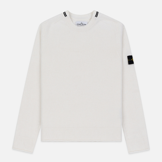 Мужской свитер Stone Island Crew Neck Lambswool Natural White