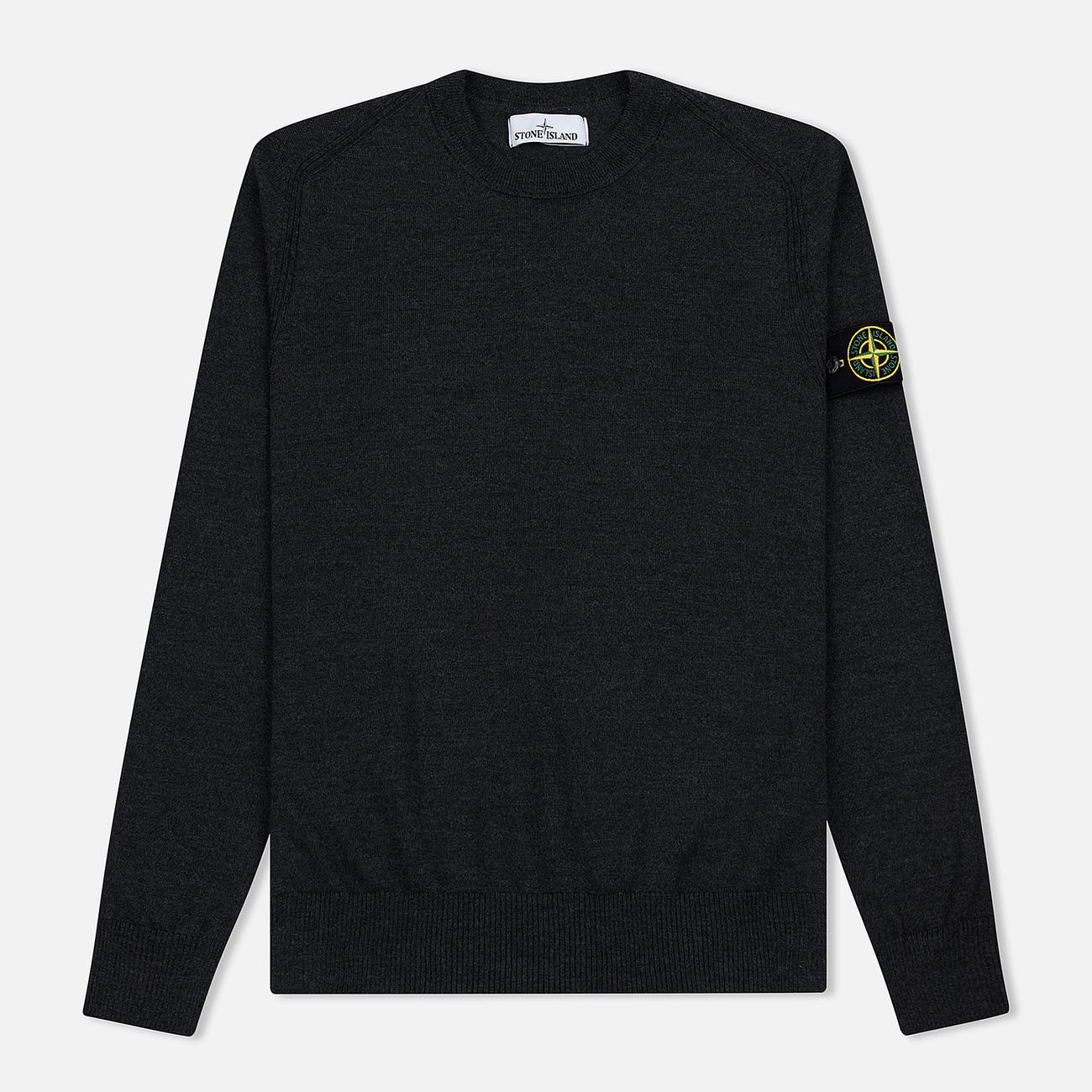 Мужской свитер Stone Island Crew Neck Lightweight Wool Charcoal