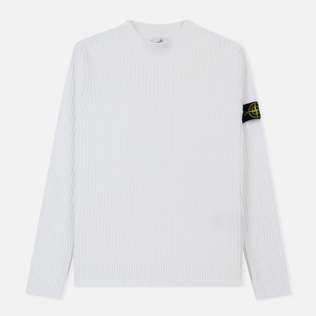Мужской свитер Stone Island Crew Neck Ribbed Knit White