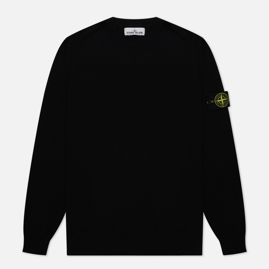 Мужской свитер Stone Island Crew Neck Smooth Cotton Black