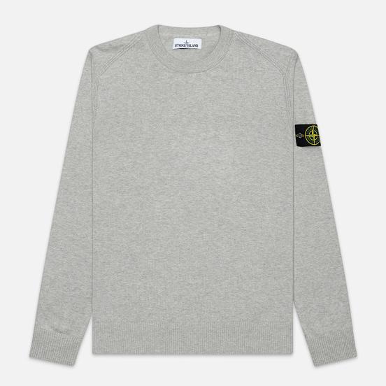 Мужской свитер Stone Island Crew Neck Smooth Cotton Dust Grey Melange