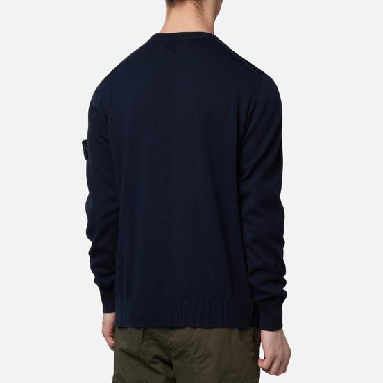 Мужской свитер Stone Island Crew Neck Smooth Cotton Navy Blue