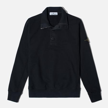 Stone Island Double Button Zip Men's Sweater Black