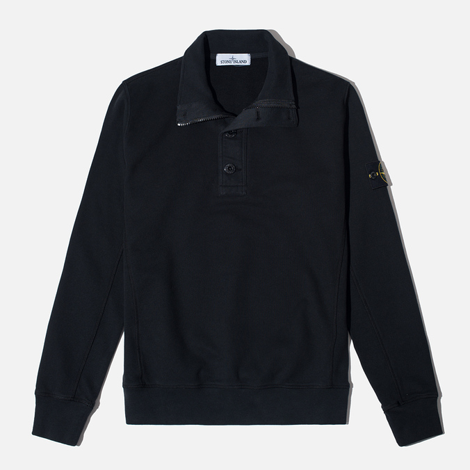 Stone Island Double Button Zip Men's Sweater Black