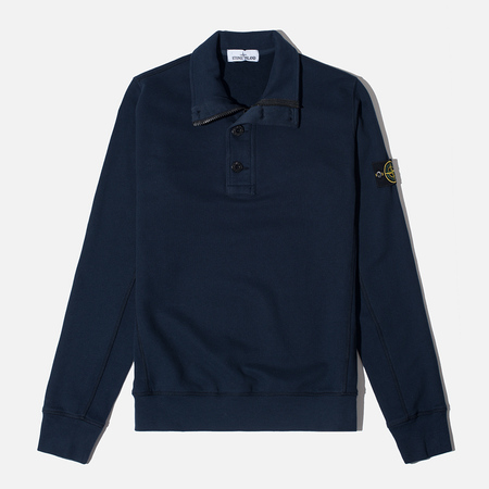 Stone Island Double Button Zip Men's Sweater Navy