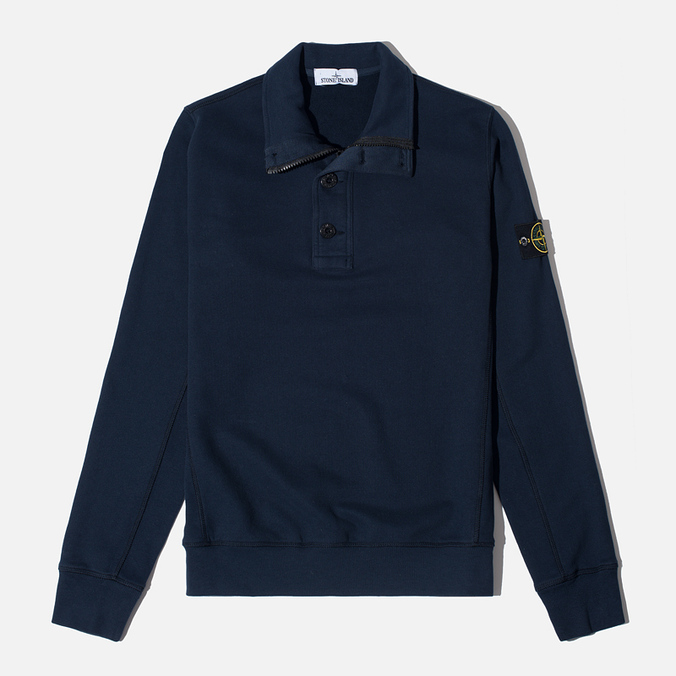 Мужской свитер Stone Island Double Button Zip Navy