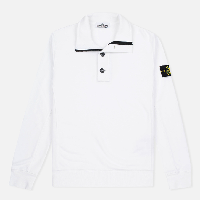 Мужской свитер Stone Island Double Button Zip White