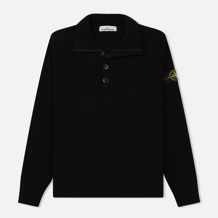 Мужской свитер Stone Island Double Button Zip Wool Black