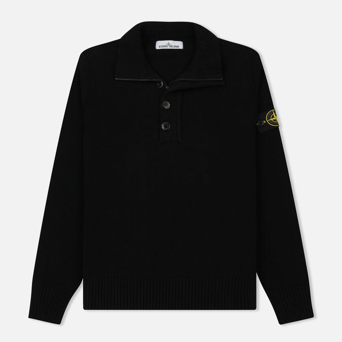 Мужской свитер Stone Island Double Button Zip Wool Black