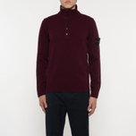 Мужской свитер Stone Island Double Button Zip Wool Bordeaux фото- 5
