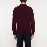 Мужской свитер Stone Island Double Button Zip Wool Bordeaux фото- 6