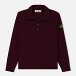 Мужской свитер Stone Island Double Button Zip Wool Bordeaux фото- 0