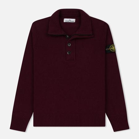 Мужской свитер Stone Island Double Button Zip Wool Bordeaux