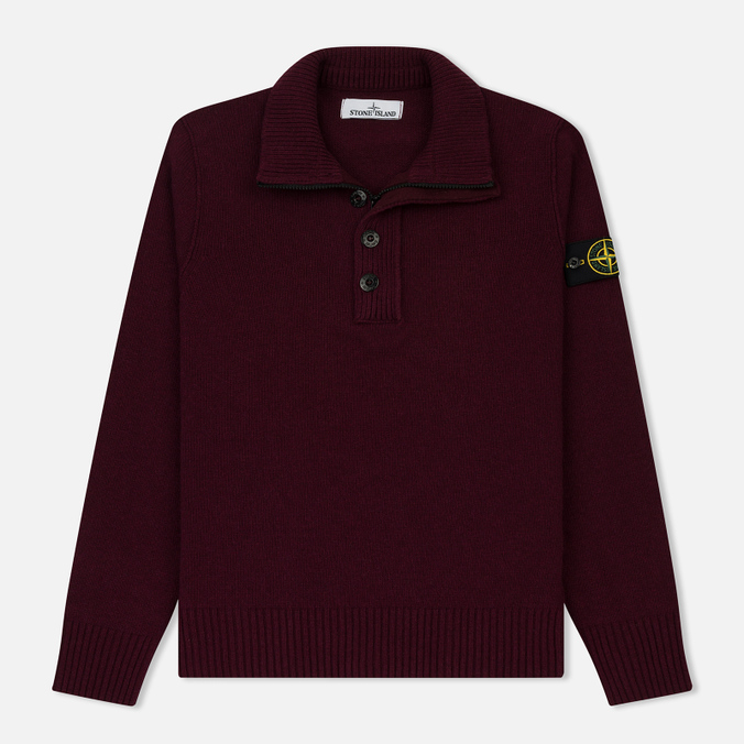 Мужской свитер Stone Island Double Button Zip Wool Bordeaux