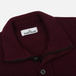 Мужской свитер Stone Island Double Button Zip Wool Bordeaux фото- 1