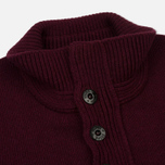 Мужской свитер Stone Island Double Button Zip Wool Bordeaux фото- 2