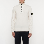 Мужской свитер Stone Island Double Button Zip Wool Cream White фото- 5