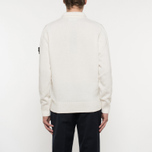Мужской свитер Stone Island Double Button Zip Wool Cream White фото- 6