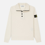Мужской свитер Stone Island Double Button Zip Wool Cream White фото- 0