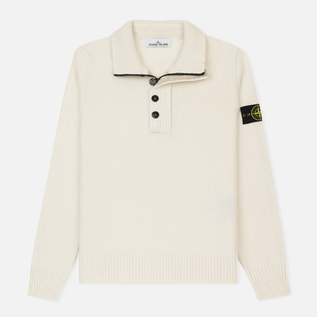 Мужской свитер Stone Island Double Button Zip Wool Cream White