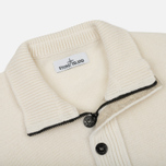 Мужской свитер Stone Island Double Button Zip Wool Cream White фото- 1