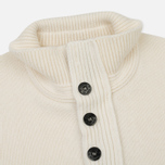 Мужской свитер Stone Island Double Button Zip Wool Cream White фото- 2
