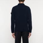 Мужской свитер Stone Island Double Button Zip Wool Navy фото- 6