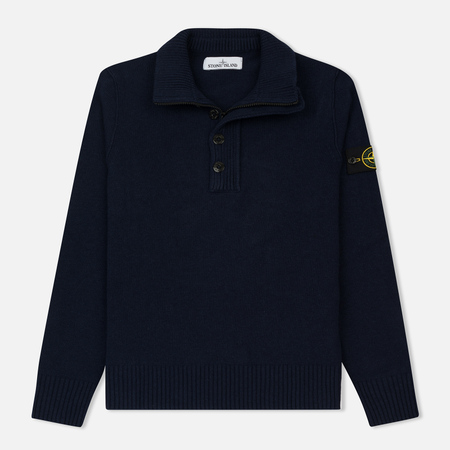 Мужской свитер Stone Island Double Button Zip Wool Navy