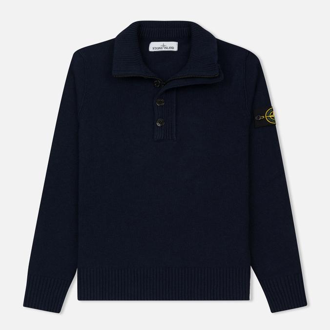 Мужской свитер Stone Island Double Button Zip Wool Navy