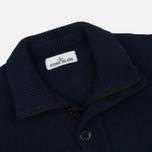 Мужской свитер Stone Island Double Button Zip Wool Navy фото- 1