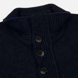 Мужской свитер Stone Island Double Button Zip Wool Navy фото- 2