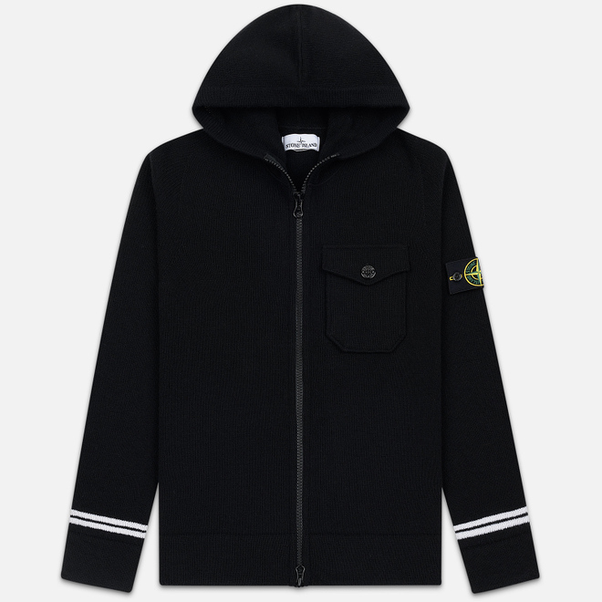Мужской свитер Stone Island Hooded Lambswool Cardigan Black