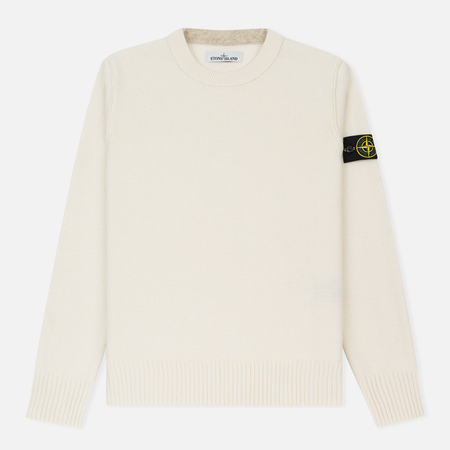 Мужской свитер Stone Island Lambswool Crew Neck Natural White