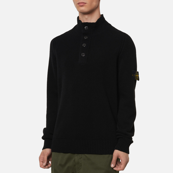Мужской свитер Stone Island Lambswool High Neck Zip Black