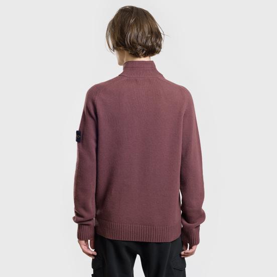 Мужской свитер Stone Island Lambswool High Neck Zip Dark Burgundy