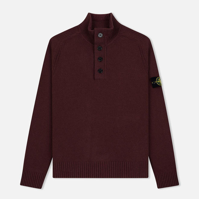 Мужской свитер Stone Island Lambswool High Neck Zip Dark Burgundy