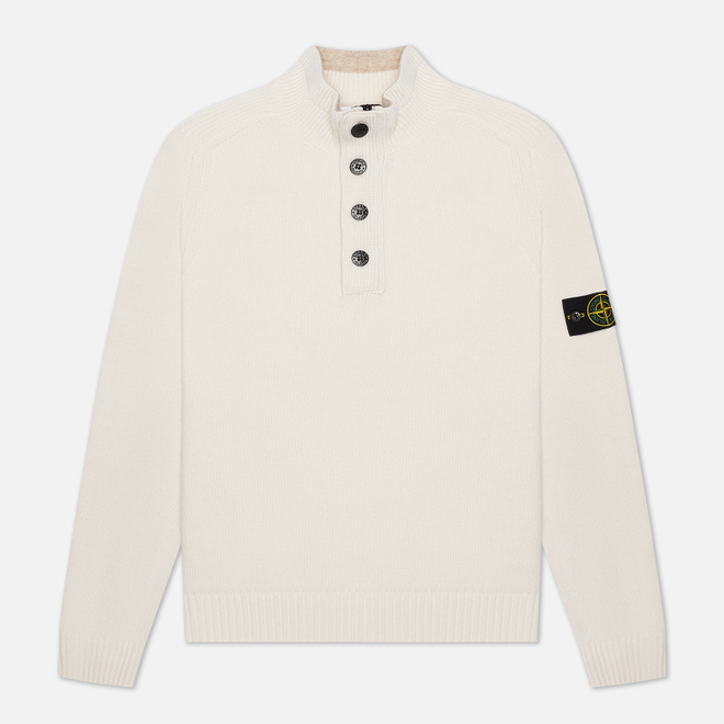 Мужской свитер Stone Island Lambswool High Neck Zip Natural White