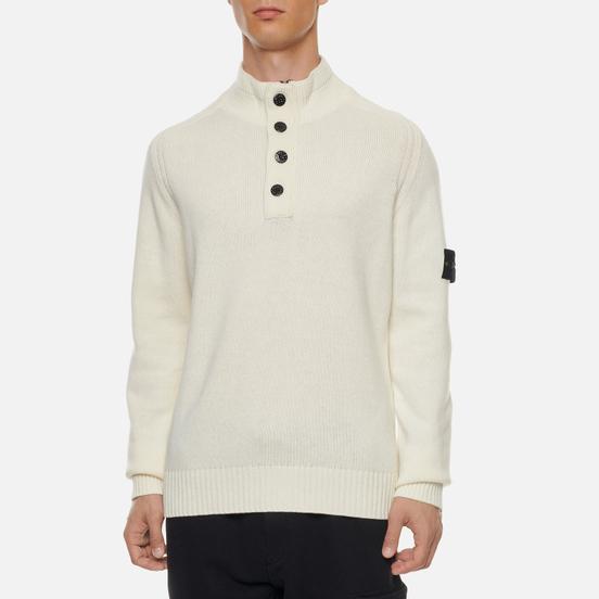 Мужской свитер Stone Island Lambswool High Neck Zip Natural White