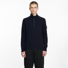 Мужской свитер Stone Island Lambswool High Neck Zip Navy Blue фото- 4
