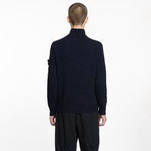 Мужской свитер Stone Island Lambswool High Neck Zip Navy Blue фото- 5