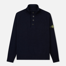 Мужской свитер Stone Island Lambswool High Neck Zip Navy Blue фото- 0