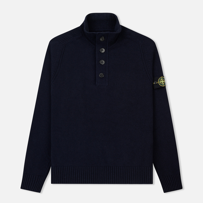 Мужской свитер Stone Island Lambswool High Neck Zip Navy Blue