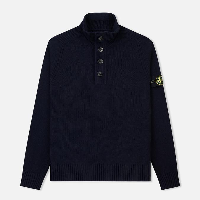 Мужской свитер Stone Island Lambswool High Neck Zip Navy Blue