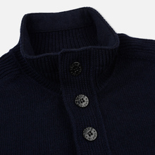 Мужской свитер Stone Island Lambswool High Neck Zip Navy Blue фото- 1